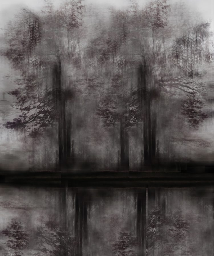 Painting of purplish trees part of Tantrik Lines collection